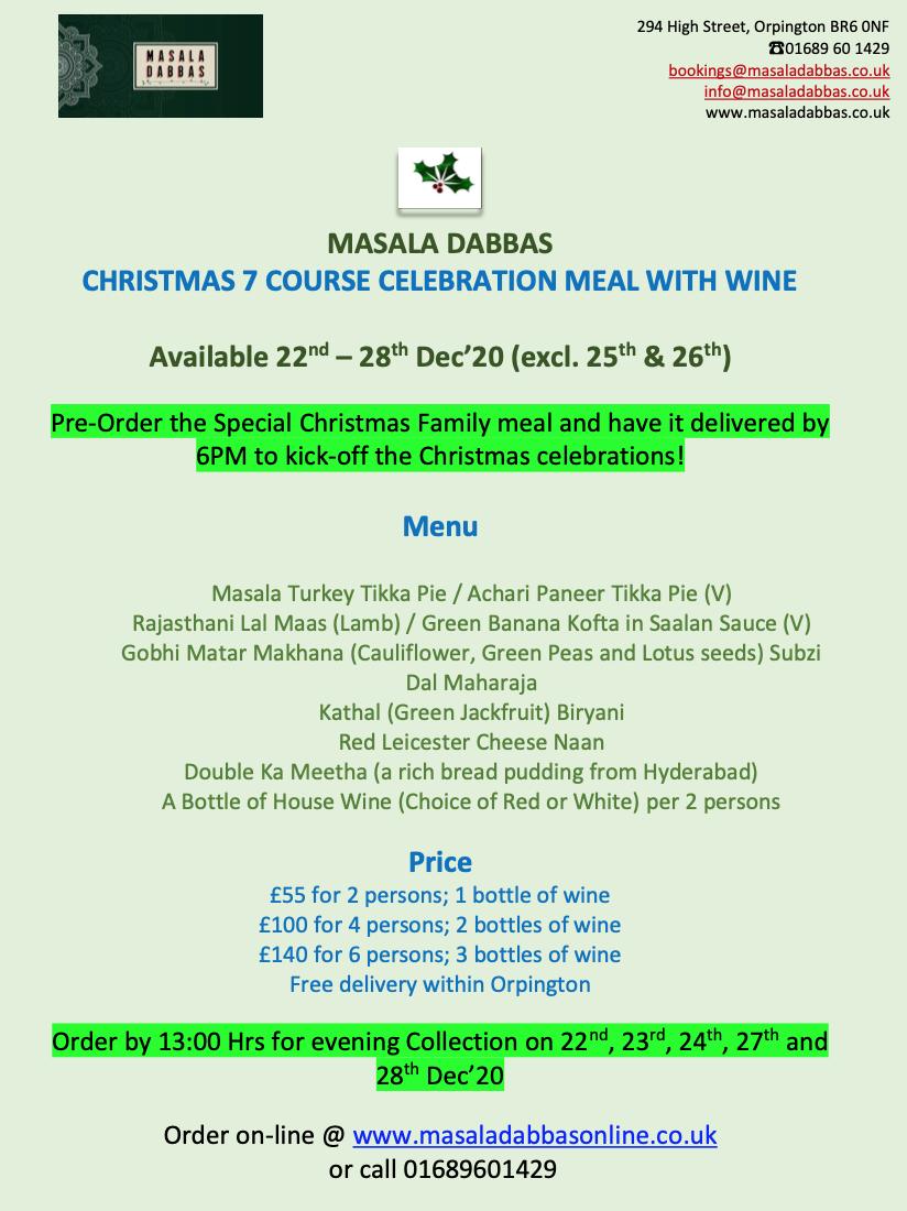 Christmas menu with WIne